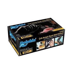 Dolphin Çok Amaçlı Nitril Eldiven Siyah Large 100'lü Paket buyuk 1
