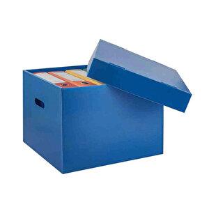 Üçgen Arşivleme Kutusu 7 Klasör Kapasiteli 30 cm x 35 cm x 41 cm Mavi