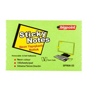 Bigpoint Yapışkanlı Not Kağıdı 75 mm x 50 mm Neon Yeşil 100 Yaprak buyuk 1