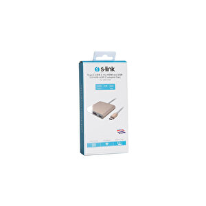 S-Link SL-USB-C68 Type C to HDMI + USB 3.0 + Pd Kablo Çevirici buyuk 4