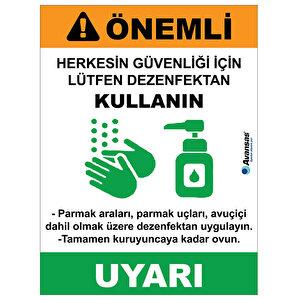 Avansas Lütfen Dezenfektan Kullanın Uyarı Etiketi buyuk 1
