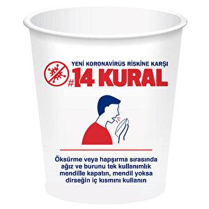Koronavirüs 14 Kural Baskılı Karton Bardak 7 Oz 50'li Paket