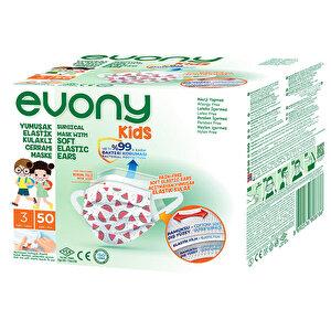 Evony Kids 3 Katlı Yumuşak Elastik Kulaklıklı Cerrahi Maske 50'li Paket buyuk 1
