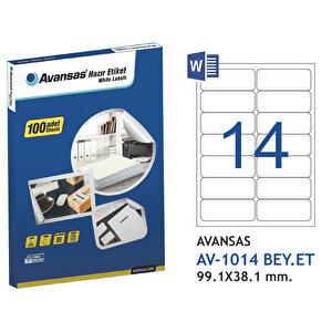 Avansas AV-1014 Beyaz Etiket 99,1x38,1 mm 14'lü buyuk 1