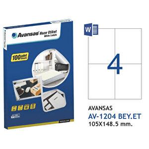 Avansas AV-1204 Beyaz Etiket 105x148,5 mm 4'lü buyuk 1