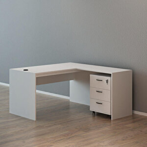 Avansas Comfort Çalışma Masası Takımı 140 cm Beyaz (Masa + Keson)
