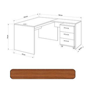 Avansas Comfort Çalışma Masası Takımı 140 cm Teak (Masa + Keson)