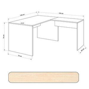 Avansas Comfort L Çalışma Masası 140 cm Akçaağaç buyuk 4