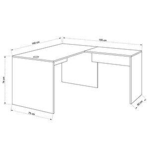 Avansas Comfort L Çalışma Masası 140 cm Beyaz buyuk 4