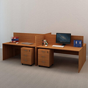 Avansas Comfort Dörtlü Workstation Çalışma Masa Grubu Teak (Masa+Keson)
