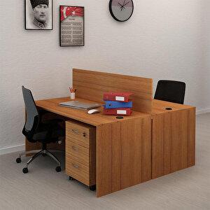 Avansas Comfort İkili Workstation Çalışma Masa Grubu Teak (Masa+Keson)