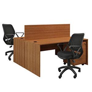 Avansas Comfort İkili Workstation Çalışma Masa Grubu Teak (Masa+Çalışma Koltuğu+Keson)