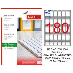 Tanex Tw-2060 Beyaz Etiket 30 mm x 9 mm